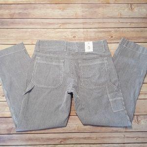 GAP Stretch Carpenter Cropped Pants Blue Striped